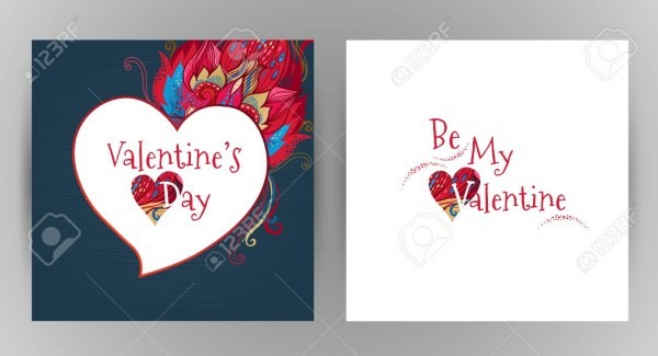 Vector Ornate Floral Card  Romantic Decor Be My Valentine