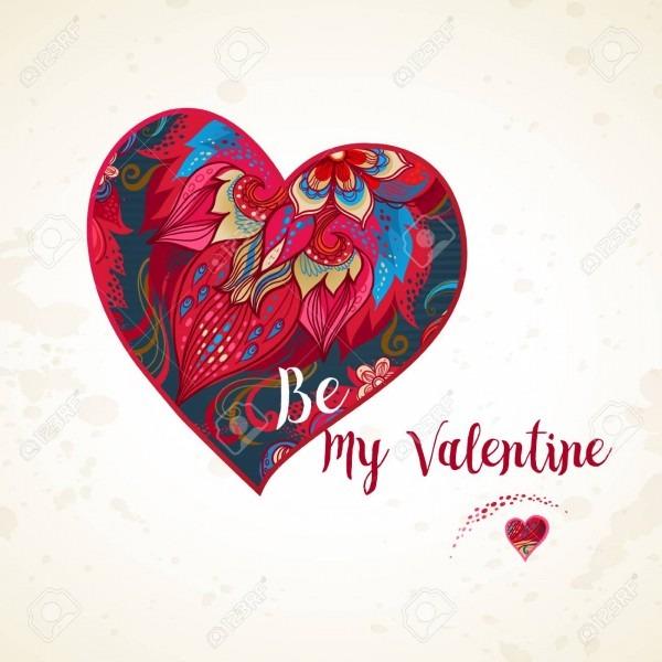 Ornate Vector Heart  Romantic Decor Be My Valentine  Template