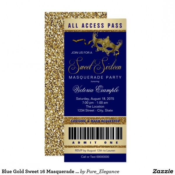 Blue Gold Sweet 16 Masquerade Party Ticket Invitation In 2018