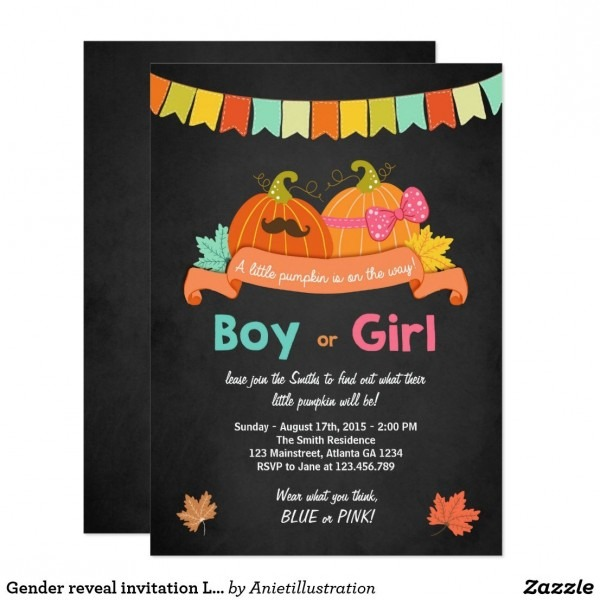 Gender Reveal Invitation Little Pumpkin He Or She
