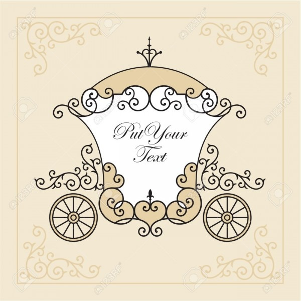Wedding Invitation Design With Carriage Royalty Free Cliparts