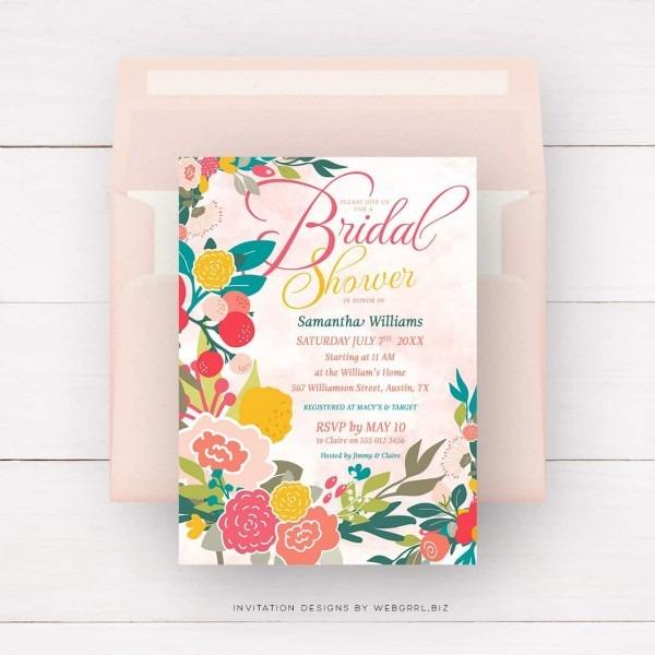 Wildflowers Floral Bridal Shower Invitation
