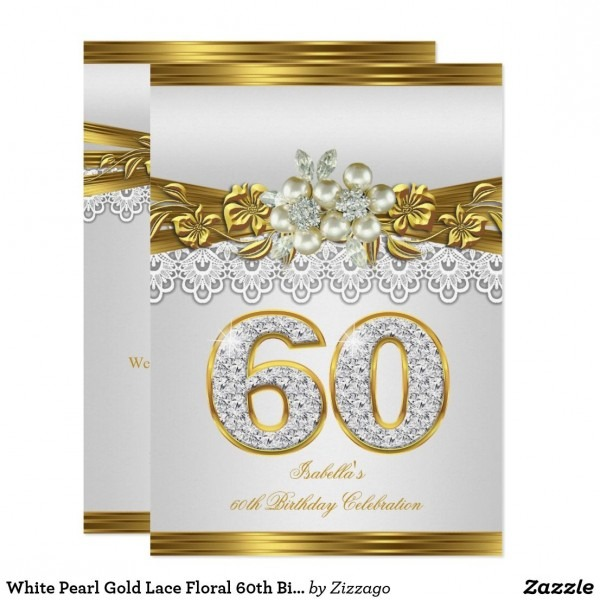White Pearl Gold Lace Floral 60th Birthday Party Invitation In