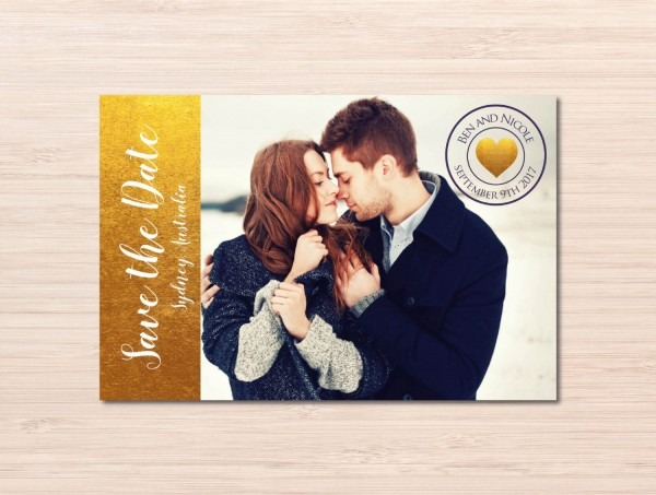 Gold Save The Date ~ Wedding Announcement Card ~ Gold Foil