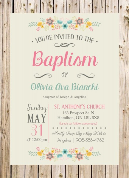 Baptism Invitation, Christening, Church, Ceremony, Party, Rustic