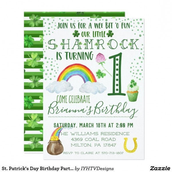 St  Patrick's Day Birthday Party Invitation In 2018