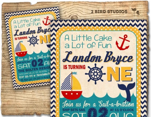 Nautical 1st Birthday Invitations Popular Items For Boat