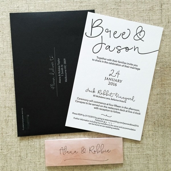 Black And White Letterpress Invitation, Black Envelopes With White