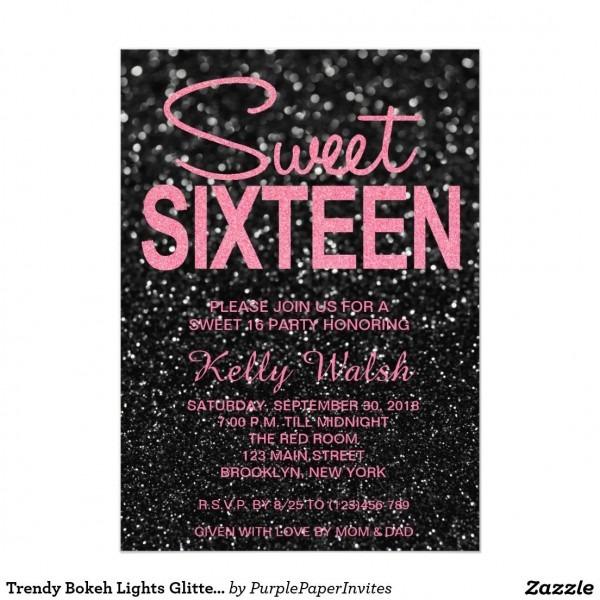 Trendy Bokeh Lights Glitter Sweet 16 Invitation