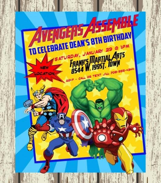 Personalized Avengers  Superhero Birthday Invitation   Printable