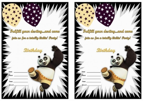 Kung Fu Panda Birthday Invitations