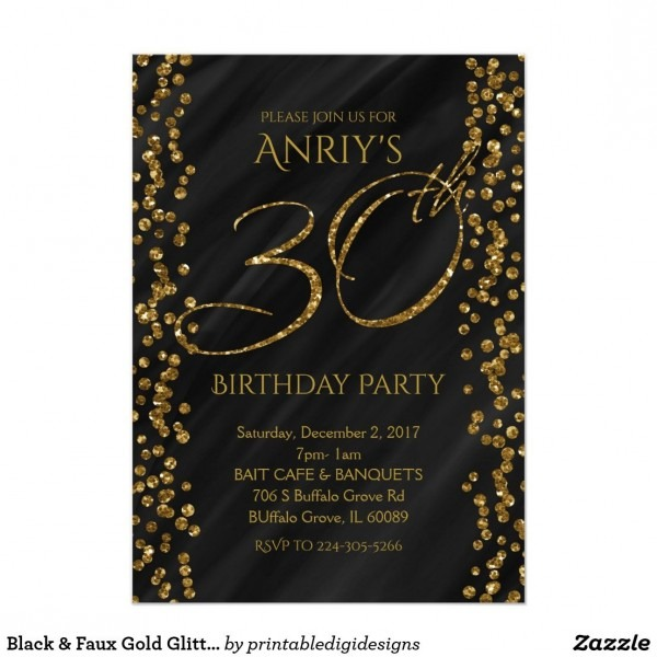 Black & Faux Gold Glitter Glam 30 30th Birthday Invitation