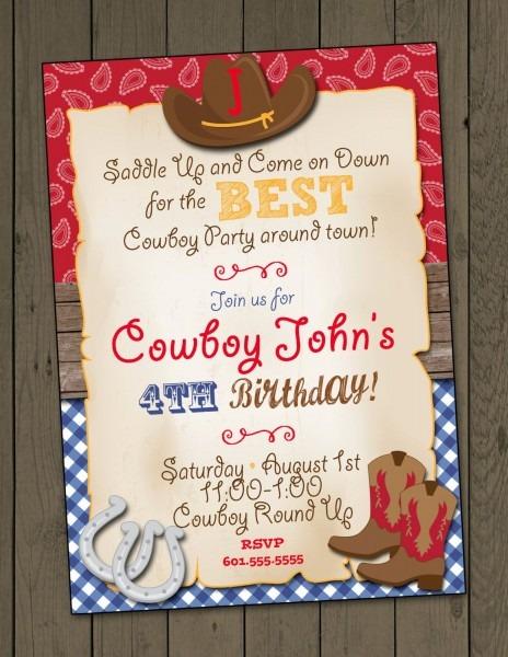 Cowboy Birthday Party Invitation Cowboy Invitation Digital