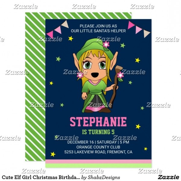 Cute Elf Girl Christmas Birthday Party Invitation