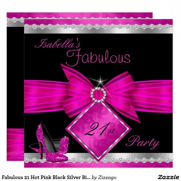 Fabulous 21 Hot Pink Black Silver Birthday Party Invitation