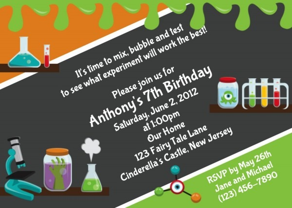 Download Free Template Mad Science Birthday Party Invitations