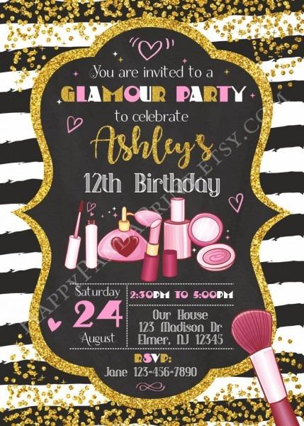 Glamour Birthday Invitation, Glamour Invitation, Girl Glamour