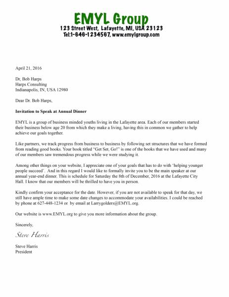 Invitation Letter For A Guest Speaker