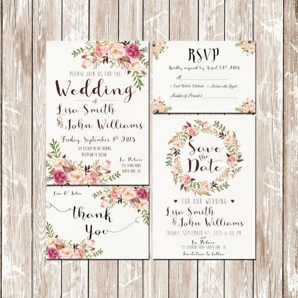 Invitation Kit Wedding Invitation Pink Floral Rustic Watercolor