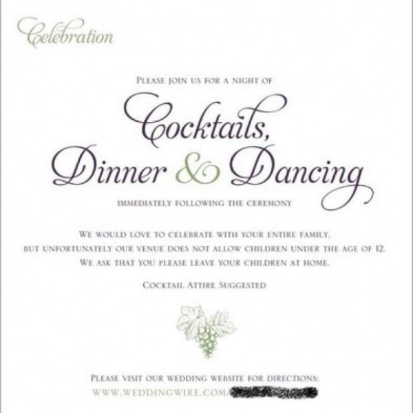 Adults Only Wedding Invitation Wording In
