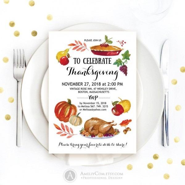 Thanksgiving Party Invitation Printable Fall Pumpkin Turkey Dinner