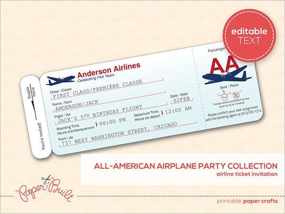 Free Printable Airline Ticket Invitation – Jahrestal Cozy