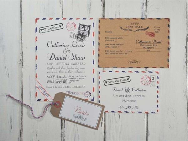Letterpress Vintage Wedding Invitations  Vintage Wedding