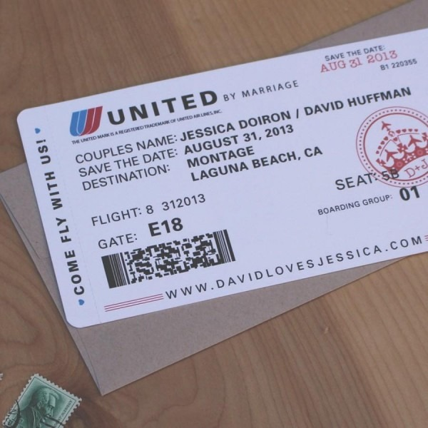 Airplane Ticket Save The Date