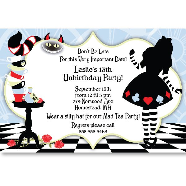 Alice In Wonderland Invitation Template Great With Alice In