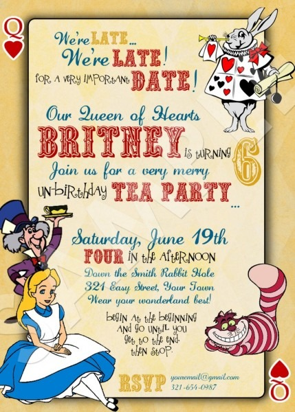 Alice In Wonderland Invitations Free Template Good With Alice In