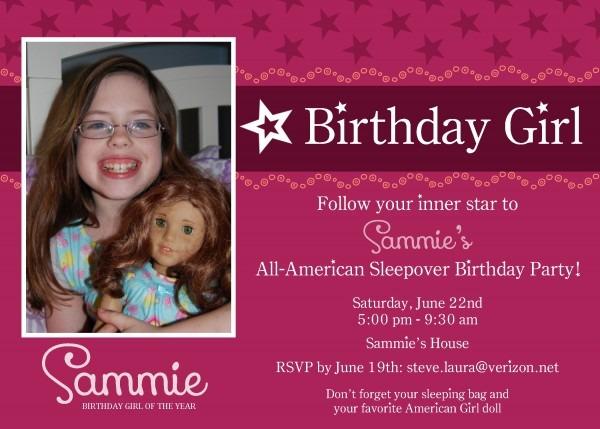 Popular American Girl Birthday Party Invitations