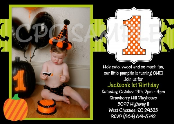 Amazing Halloween 1st Birthday Invitations 13 In Invitations Cards