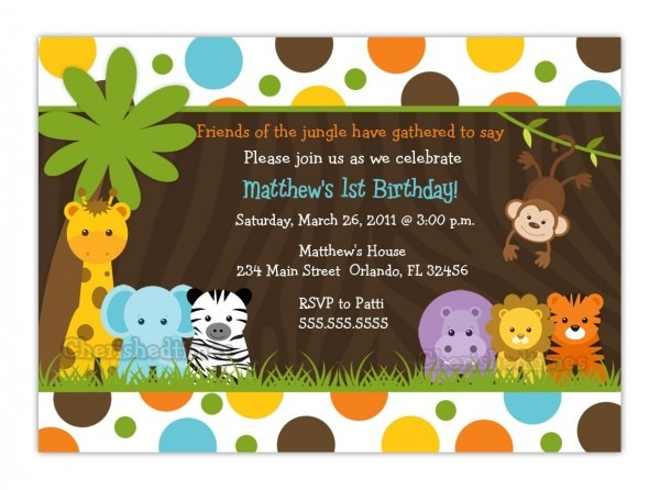 Amazing Jungle Theme Baby Shower Invitations 35 On Free Printable