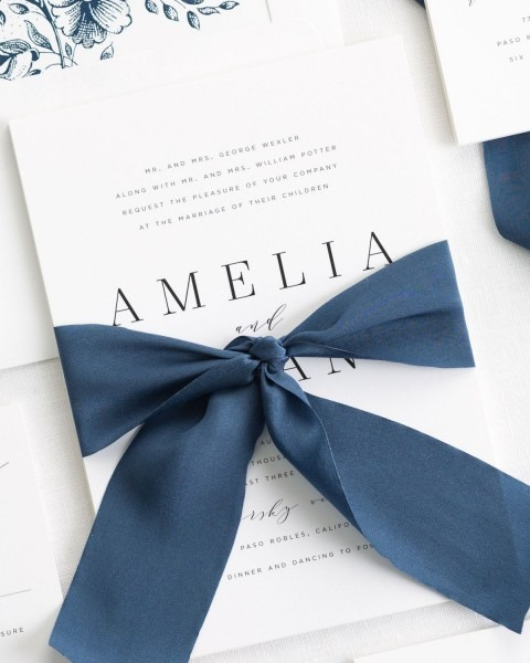 Simple Navy Wedding Invitations With A Sapphire Silk Ribbon