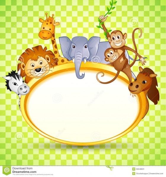 Animal In Baby Shower Invitation Stock Vector