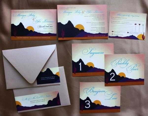Arizona Desert Sunset Wedding Stationery