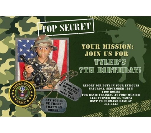 Fancy Military Birthday Invitations