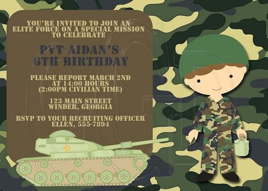 Army Birthday Invitations Wording Fabulous Army Birthday