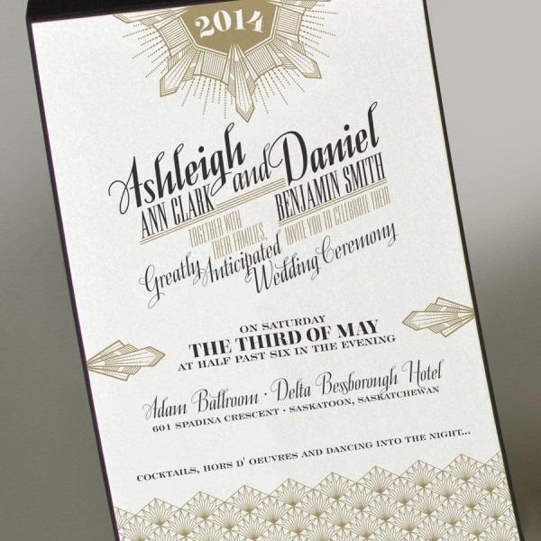 Art Deco Gold Wedding Invitation, Great Gatsby Wedding Invitation