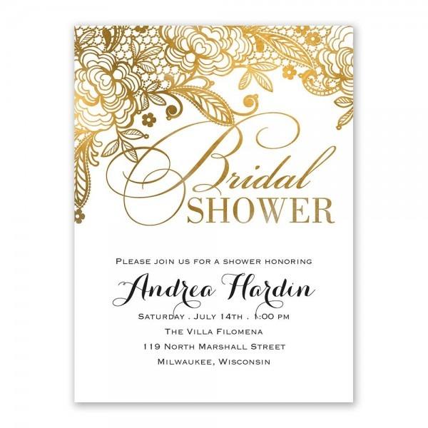 Gold Lace Bridal Shower Invitation