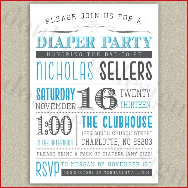 Awesome Free Printable Diaper Party Invitations 61 For Invitations