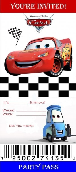 Cars+ticket+invitation+template