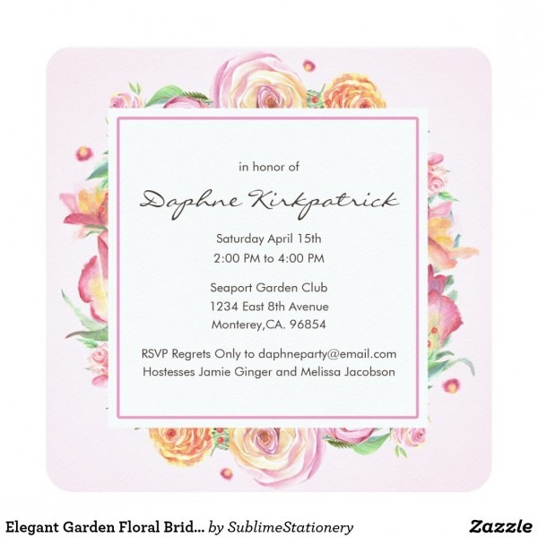 Elegant Garden Floral Bridal Shower Invitations