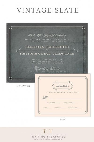 Vintage Slate Wedding Invitation In 2018