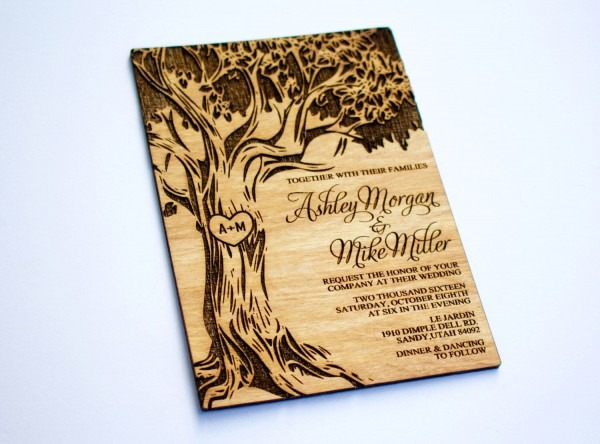 50 Wooden Wedding Invitation