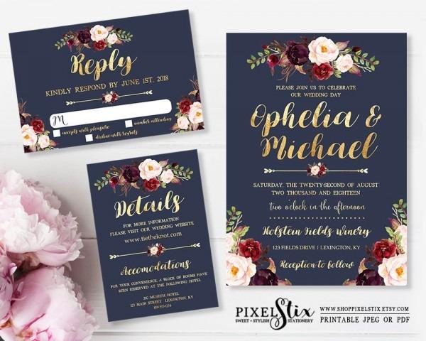 Printable Wedding Invitation, Navy Blue And Gold Foil, Dark Rustic
