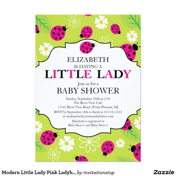 Modern Little Lady Pink Ladybug Baby Shower Invitation