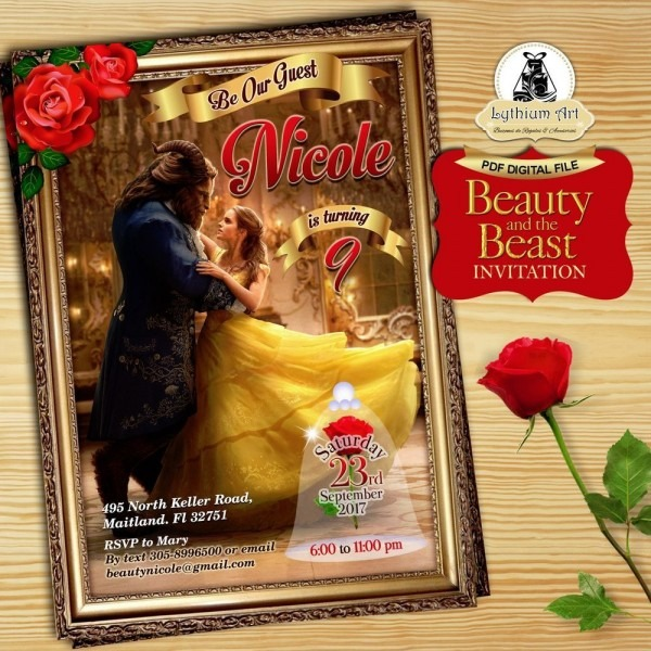 Digital File Beauty And The Beast Digital 5x7 Invitation