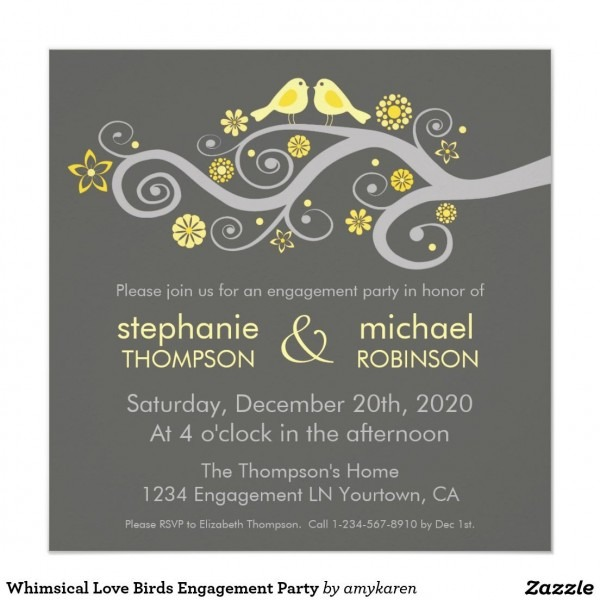 Whimsical Love Birds Engagement Party Card