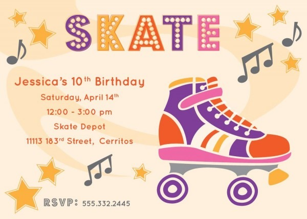 Free Printable Roller Skating Party Invitations